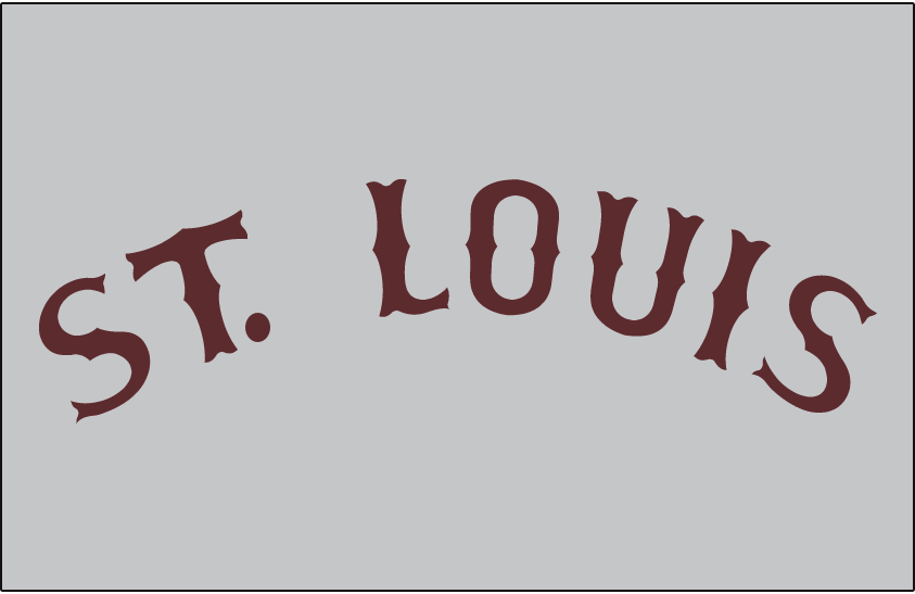 St. Louis Browns Logo Jersey Logo (1908-1909) - ST LOUIS arched in brown on a grey jersey, worn on Browns road uniform in 1908 and 1909 SportsLogos.Net