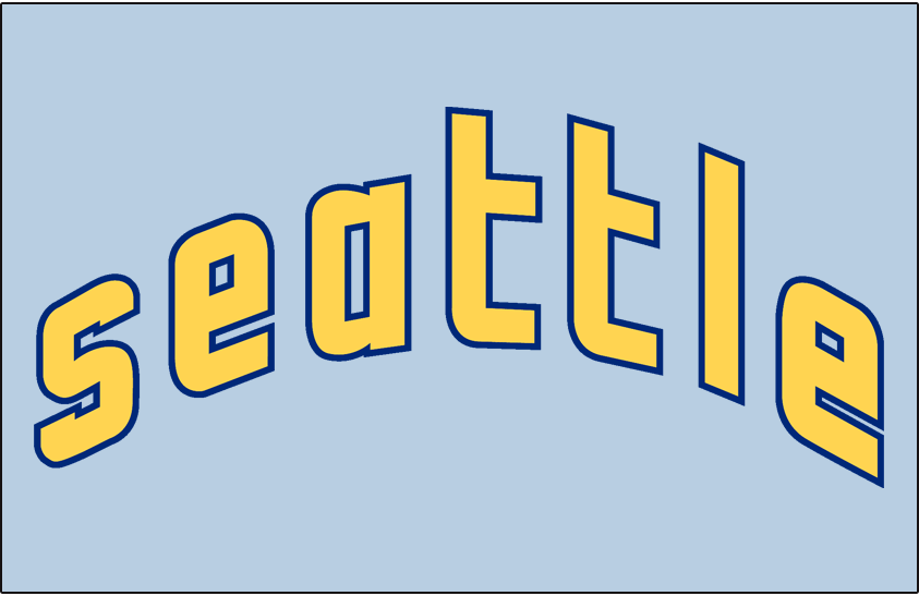 Seattle Pilots Logo Jersey Logo (1969) - Lowercase Seattle in yellow with blue outline on powder blue, worn on Seattle Pilots road jersey during the 1969 season SportsLogos.Net