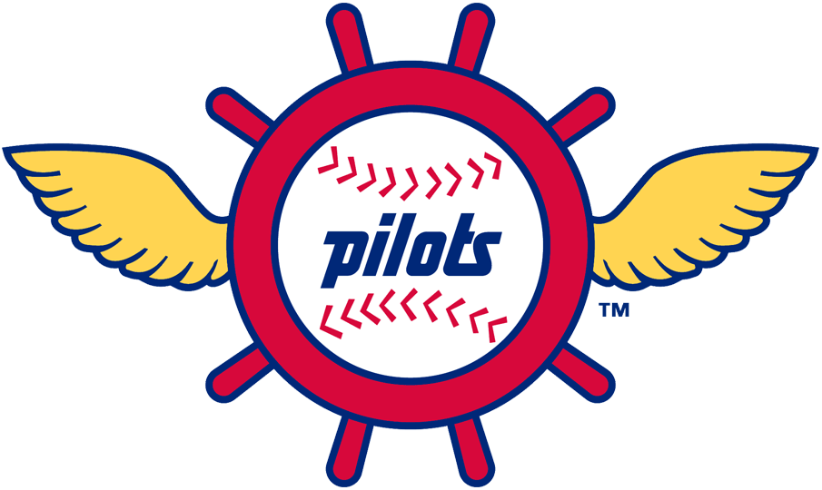 Seattle Pilots Logo Primary Logo (1969) - Pilots on baseball in a red Pilot's wheel with yellow wings SportsLogos.Net