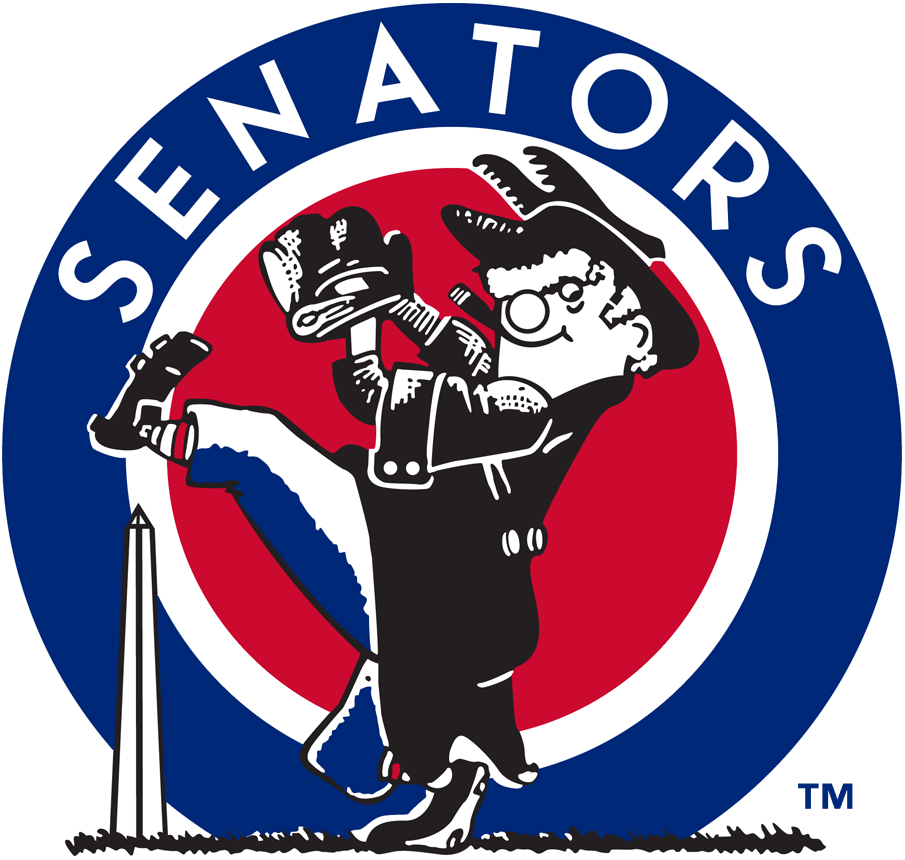 Washington Senators Logo Primary Logo (1957-1960) - A characature of a U.S. Senator winding up to throw a pitch, team name behind on blue and red circle, Washington Monument also in the background SportsLogos.Net