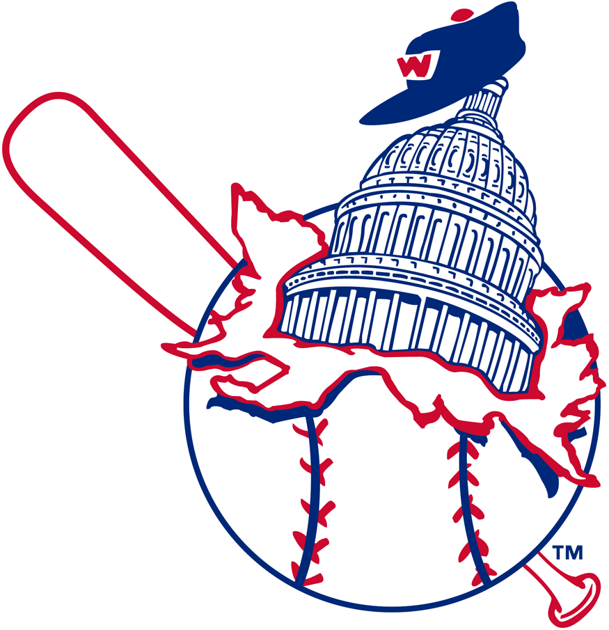 Washington Senators Logo Primary Logo (1955-1956) - The U.S. Capitol Dome busting out of a baseball, worn for final two seasons using Nationals name and first two using Senators name which is why it appears on this site twice... unfortunately. SportsLogos.Net