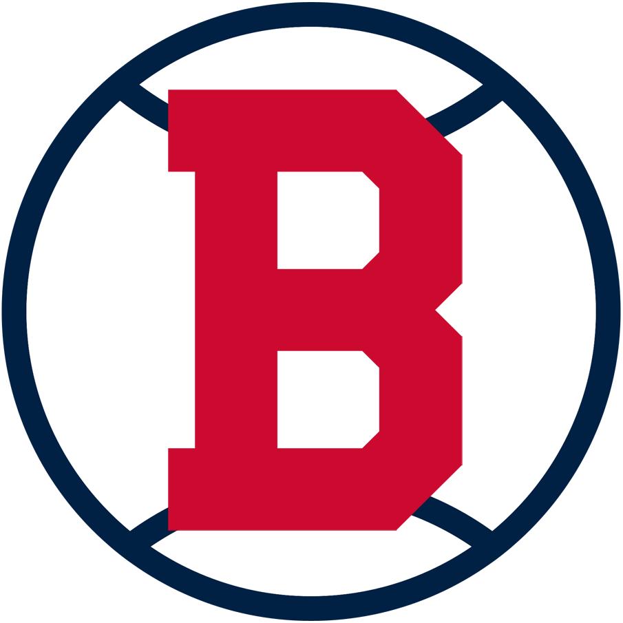 Boston Doves Logo Primary Logo (1909) - A red 'B' on a black and white baseball SportsLogos.Net