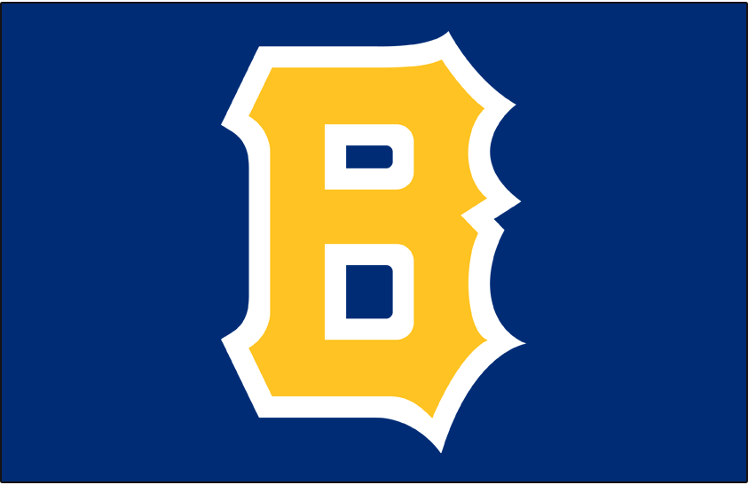 Boston Bees Logo Cap Logo (1938) - A block styled 'B' in yellow with white outline on blue SportsLogos.Net