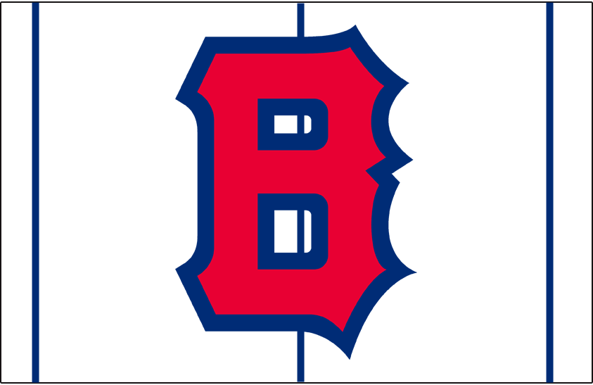 Boston Bees Logo Cap Logo (1939) - (Home) A block styled 'B' in red with blue outline on red pinstripes SportsLogos.Net