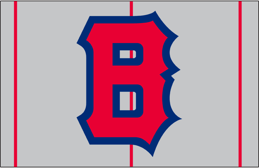 Boston Bees Logo Cap Logo (1939) - A red B outlined in blue on a grey cap with red pinstripes, worn on Boston Bees road cap in 1939 SportsLogos.Net