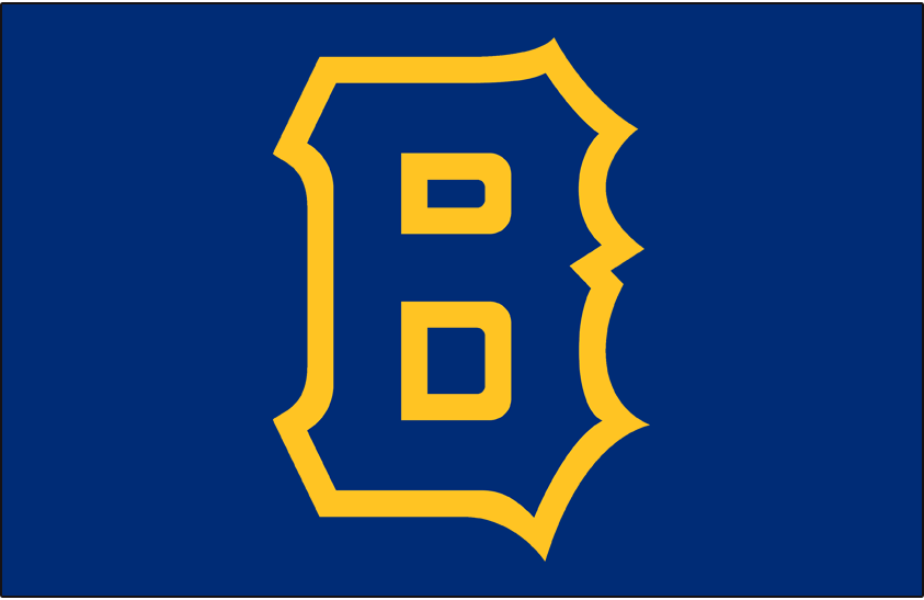 Boston Bees Logo Cap Logo (1938) - A blue B outlined in yellow on a blue cap, worn on Boston Bees road cap in 1938 SportsLogos.Net