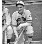 Boston Bees (1939) Eddie Miller poses while wearing the Boston Bees home uniform with Baseball Centennial patch in 1939