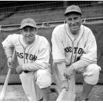 Boston Bees (1936) Tony Cuccinello and Wally Berger pose while wearing the Boston Bees home uniform during the 1936 season