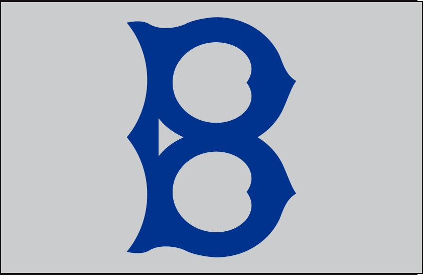 Brooklyn Robins Logo Cap Logo (1919) - An old-fashioned style blue 'B' on a grey cap, worn on the road by the Brooklyn Robins in 1919 SportsLogos.Net