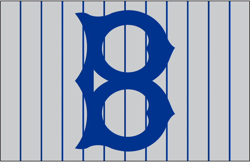Brooklyn Robins Logo Cap Logo (1920-1924) - An old-fashioned style blue 'B' on a grey cap with blue pinstripes, worn on Brooklyn Robins road cap in 1914, again in 1918, from 1920 through 1924, and finally in 1926 and 1927 SportsLogos.Net