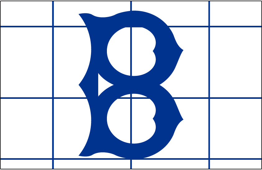 Brooklyn Robins Logo Cap Logo (1916) - An old-fashioned style blue 'B' on a white cap with a blue grid pattern on it, worn at home in 1916 only SportsLogos.Net