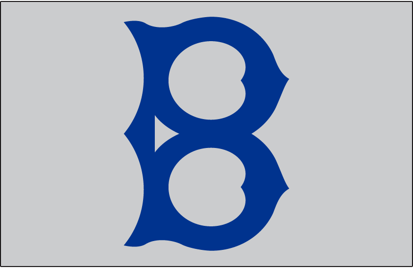 Brooklyn Robins Logo Jersey Logo (1919) - A blue B on grey, worn on Robins road jersey in 1919 SportsLogos.Net