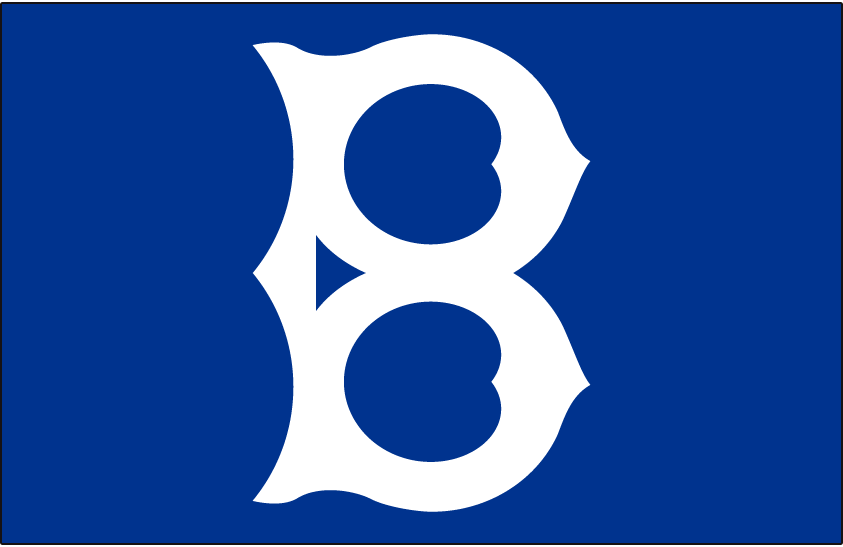 Brooklyn Robins Logo Cap Logo (1925) - An old fashioned white 'B' on blue, worn by the Robins at home in 1923 and again on the road in 1925 SportsLogos.Net
