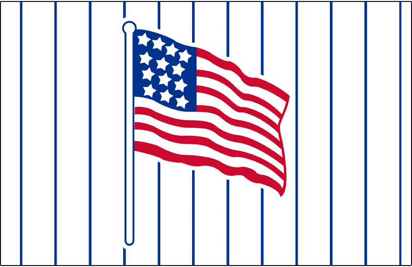 Brooklyn Robins Logo Jersey Logo (1917) - An American flag on a white jersey with blue pinstripes, worn for home games during the First World War in the 1917 season SportsLogos.Net