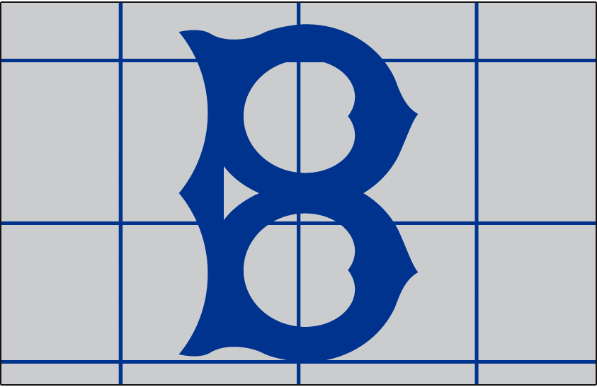 Brooklyn Robins Logo Cap Logo (1916-1917) - An old-fashioned style blue 'B' on a grey cap with a blue grid pattern on it, worn on the road in 1916 and 1917 SportsLogos.Net