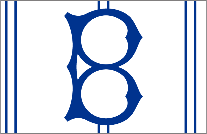 Brooklyn Robins Logo Cap Logo (1928) - An old fashioned blue 'B' on white with blue stripes, worn by the Robins at home in 1928 and again in 1931 SportsLogos.Net