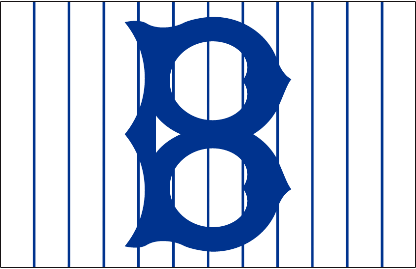 Brooklyn Robins Logo Cap Logo (1914-1915) - An old-fashioned style blue 'B' on blue pinstripes, worn on Brooklyn Robins home cap in 1914 and 1915, again from 1917 through 1922, and then in 1924 and 1925 SportsLogos.Net