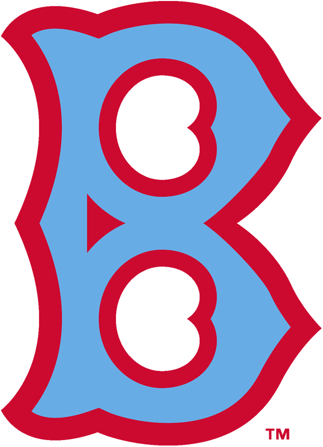Brooklyn Robins Logo Primary Logo (1929) - A old-fashioned style light blue 'B' with red trim SportsLogos.Net