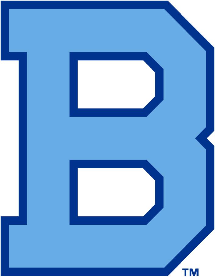Brooklyn Robins Logo Primary Logo (1931) - A powder blue block 'B' with a navy blue trim SportsLogos.Net
