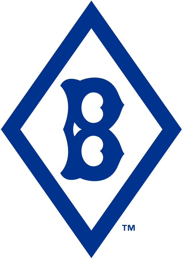 Brooklyn Robins Logo Primary Logo (1926-1927) - A navy blue old-fashioned 'B' inside a blue diamond SportsLogos.Net