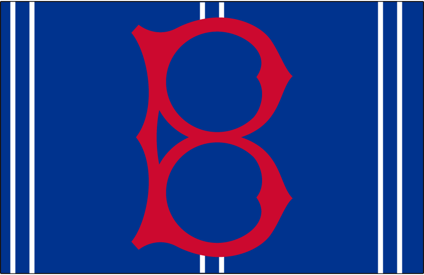 Brooklyn Robins Logo Cap Logo (1928-1930) - An old fashioned red 'B' on blue with white stripes, worn on Robins road cap only in 1928, and both at home and on road in 1929 and 1930 SportsLogos.Net