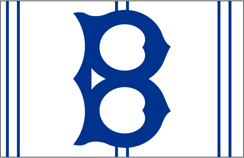 Brooklyn Robins Logo Cap Logo (1926-1927) - An old fashioned blue 'B' on white with blue/white stripes, worn on Robins home cap in 1926 and 1927 SportsLogos.Net