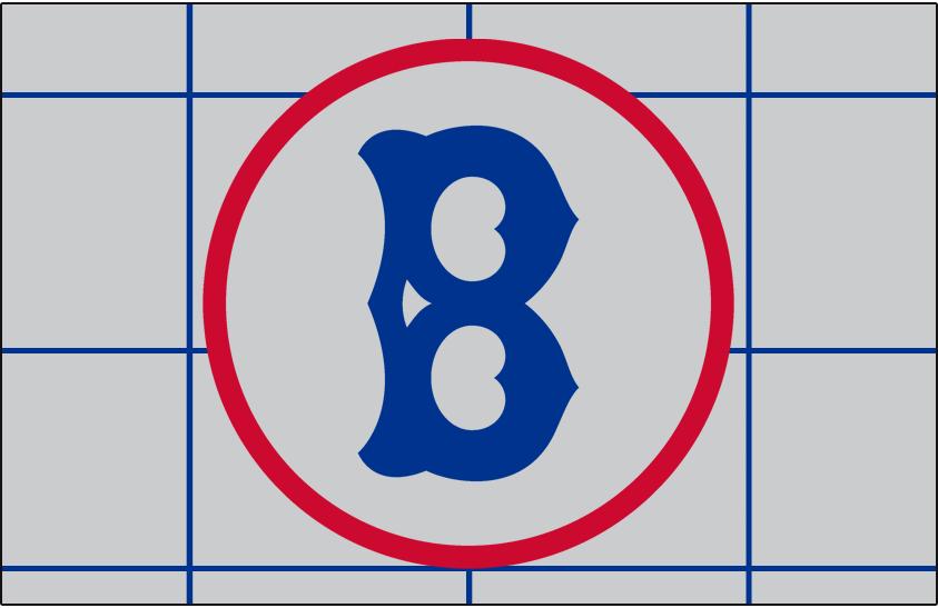 Brooklyn Robins Logo Jersey Logo (1928) - A blue B in a red circle on grey with blue grid pattern, worn on the sleeve only of the Robins road jersey in 1928. Front of this jersey was blank. SportsLogos.Net