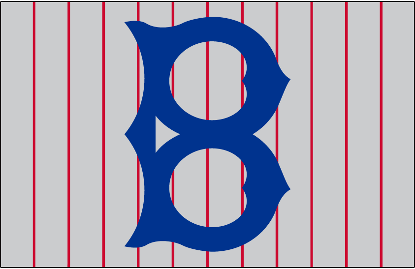 Brooklyn Robins Logo Jersey Logo (1915) - A blue B on grey with red pinstripes, worn on Robins road jersey in 1915 SportsLogos.Net