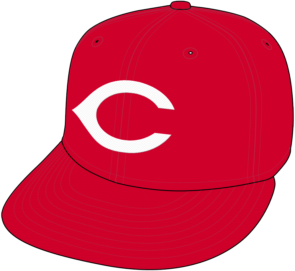 Cincinnati Redlegs Cap Cap (1956) - Cincinnati Redlegs home and road cap for 1956, all red with white wishbone C. Similar designs worn by the Reds again from the late 1960s right into the 21st century SportsLogos.Net