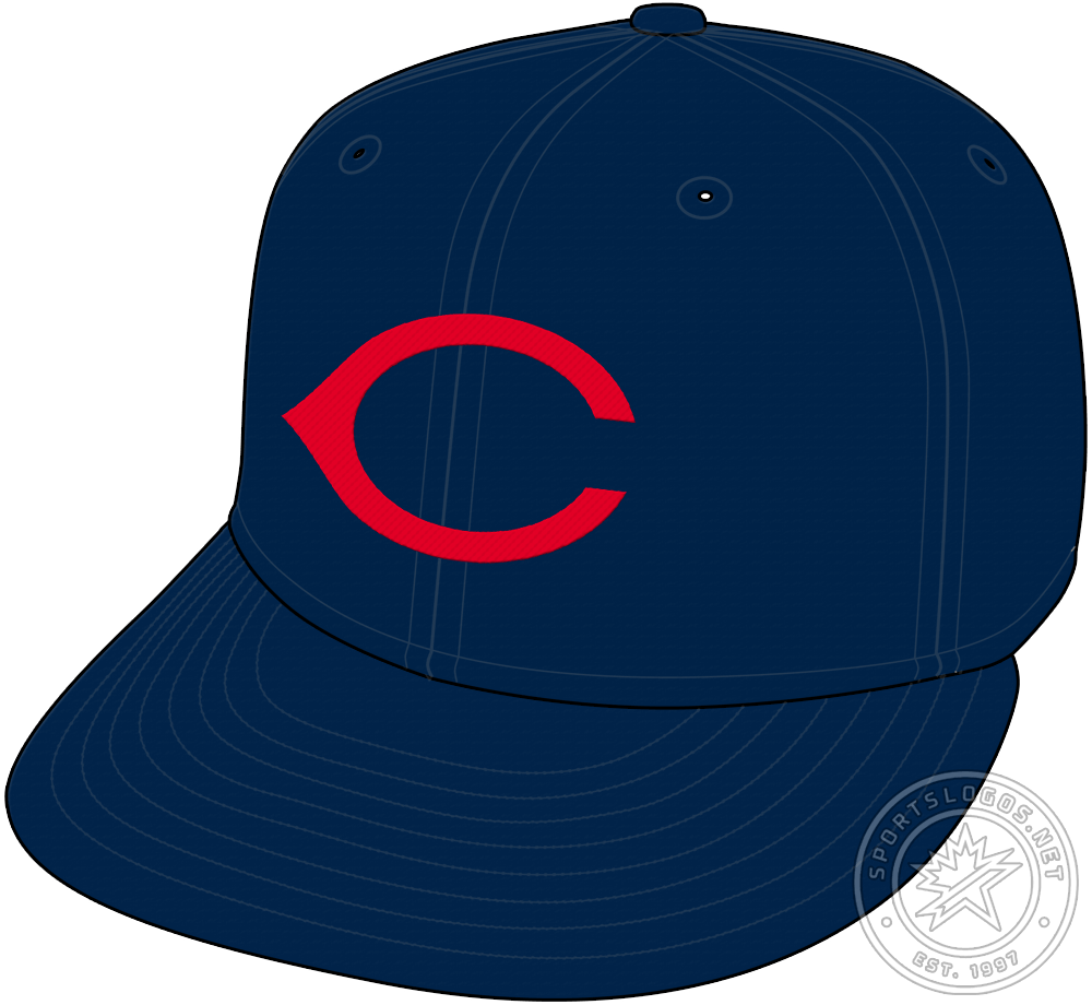Cincinnati Redlegs Cap Cap (1953-1954) - The Cincinnati Reds changed their name to the Redlegs in 1953 but kept the cap they had been wearing since 1947 for another two seasons. The cap is all navy blue with a red wishbone C on the front. The Redlegs would add a white outline to the C for 1955. SportsLogos.Net