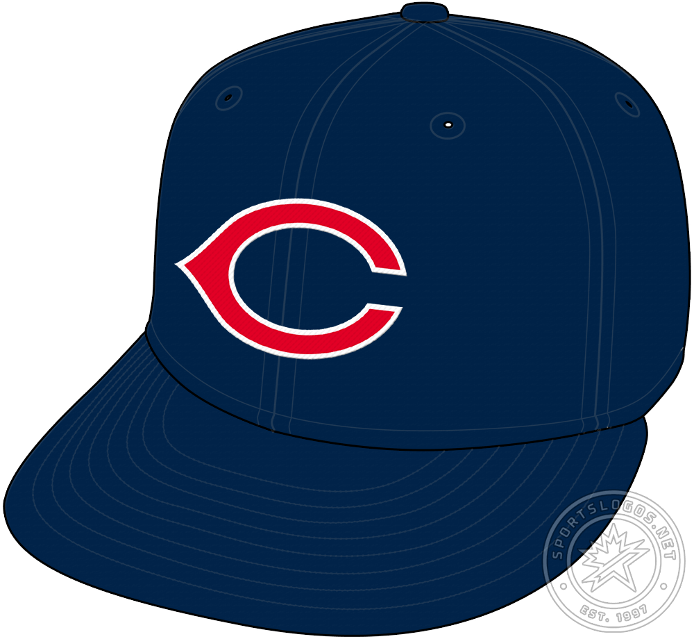 Cincinnati Redlegs Cap Cap (1955) - In the 1955 season, the Cincinnati Redlegs made a slight adjustment to their navy blue caps, a thin white line was added to the outside of the wishbone C. This style was used for just one season before the Redlegs returned to wearing red caps in 1956. SportsLogos.Net