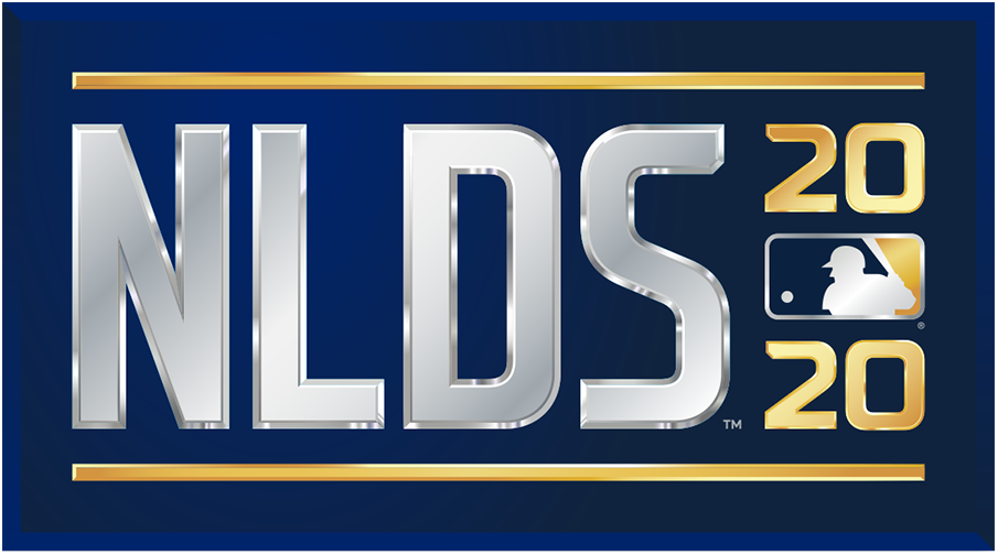 NLDS Logo Primary Logo (2020) - The 2020 National League Division Series logo shows the abbreviated name of the event, NLDS, in all caps sans-serif silver lettering with the year in gold to the right and the MLB logo. The entire logo is placed within a navy blue rectangle. SportsLogos.Net