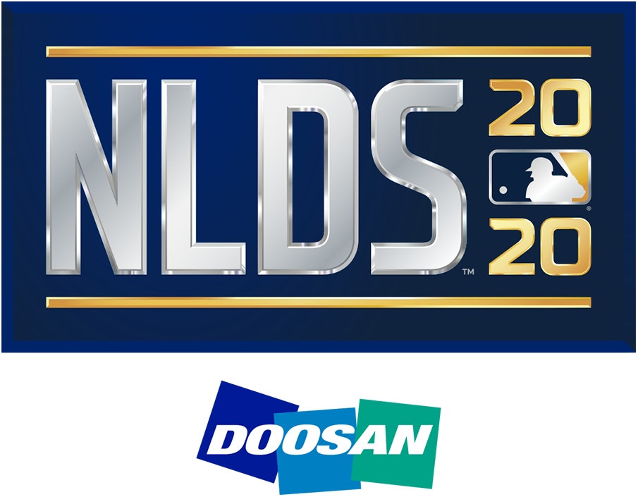 NLDS Logo Sponsored Logo (2020) - The 2020 National League Division Series logo shows the abbreviated name of the event, NLDS, in all caps sans-serif silver lettering with the year in gold to the right and the MLB logo. The entire logo is placed within a navy blue rectangle. This version of the logo, shown with the Doosan branding, is considered the official primary logo for the event. SportsLogos.Net