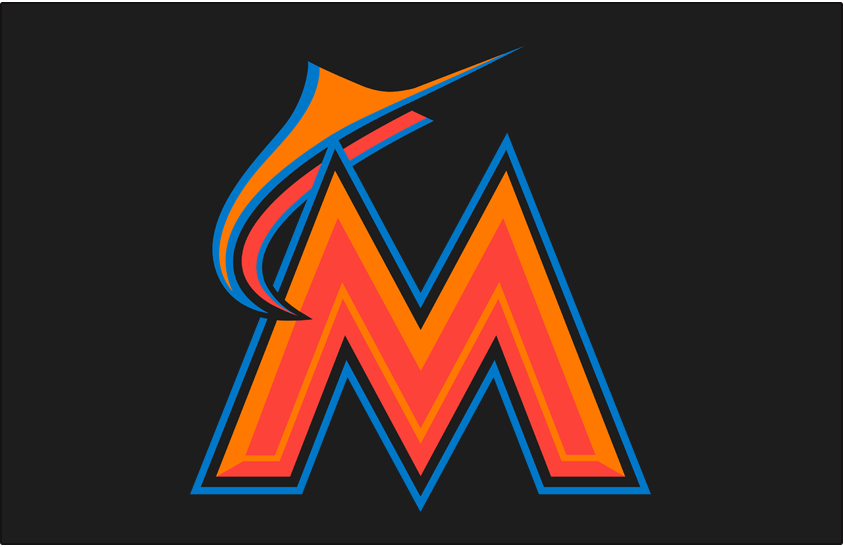 Miami Marlins Logo Batting Practice Logo (2016-2018) - A two-toned orange M and marlin trimmed in blue on black, worn on Miami Marlins batting practice cap only starting in 2016 SportsLogos.Net