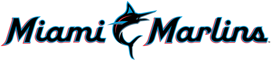 Miami Marlins Logo Wordmark Logo (2019-Pres) - Miami Marlins scripted in black, blue, and red with a marlin leaping in between the two words SportsLogos.Net