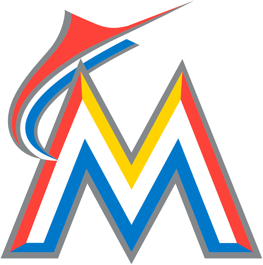 Miami Marlins Logo Primary Logo (2017-2018) - A white, yellow, red, blue, and silver M with a marlin flying over it SportsLogos.Net