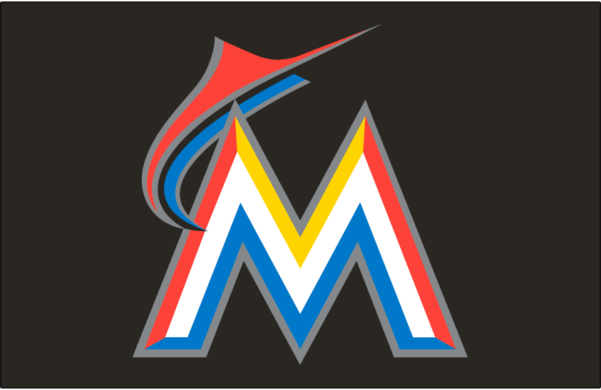 Miami Marlins Logo Cap Logo (2012-2018) - An orange and blue marlin leaping over a white, orange, yellow and blue M with a silver outline on black SportsLogos.Net
