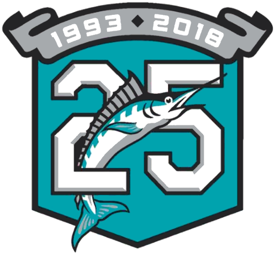 Miami Marlins Logo Anniversary Logo (2018) - 25th Anniversary Logo for the Florida Marlins - Miami Marlins franchise, worn as a jersey sleeve patch throughout the 2018 season SportsLogos.Net