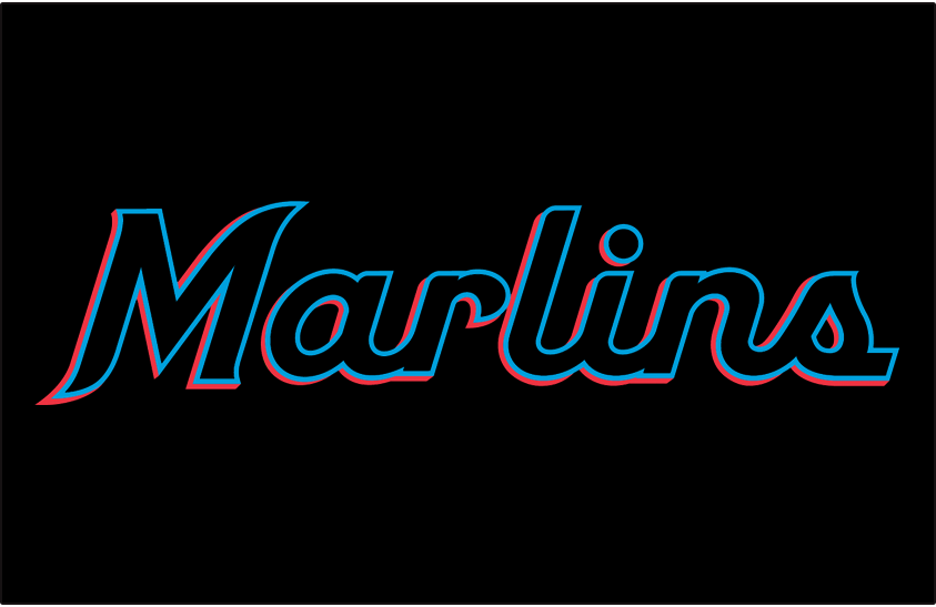 Miami Marlins Logo Jersey Logo (2019-Pres) - Marlins in black, blue, and red script on black worn on front of Miami Marlins alternate black jersey beginning in 2019 SportsLogos.Net