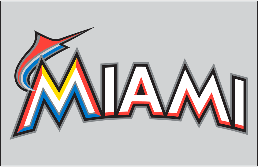 Miami Marlins Logo Jersey Logo (2012-2018) - Miami arched in white and orange with black and silver outlines, and an orange and blue marlin jumping from the M on grey, worn on Miami Marlins road jersey starting in 2012 SportsLogos.Net