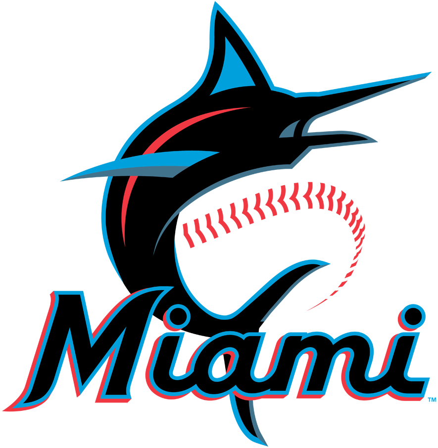 Miami Marlins Logo Primary Logo (2019-Pres) - Marlin in blue, red, and black leaping with a baseball to the right, Miami wordmark scripted below SportsLogos.Net