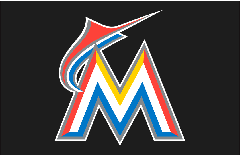 Miami Marlins Logo Primary Dark Logo (2017-2018) - A white, yellow, red, blue, and silver M with a marlin flying over it on black SportsLogos.Net