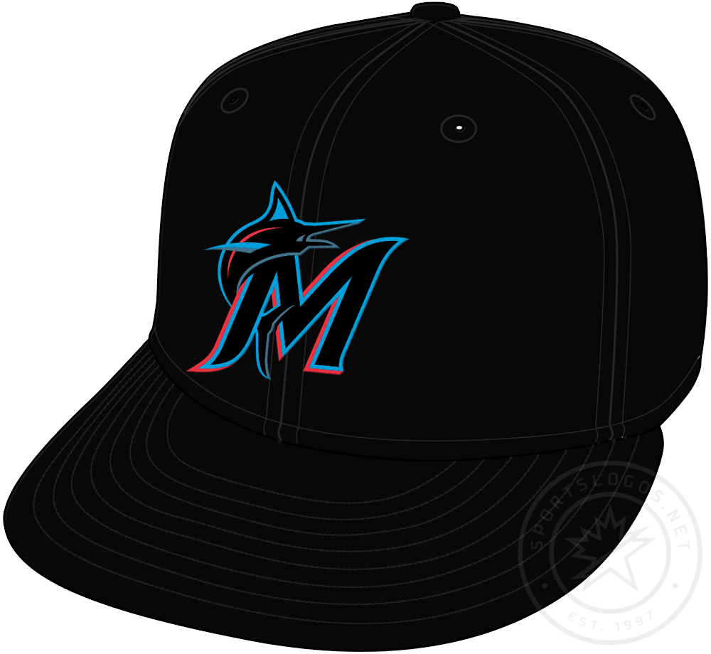 Miami Marlins Cap Cap (2019-Pres) - Black cap with Marlins logo on front, worn as primary home and road Marlins cap beginning in 2019 SportsLogos.Net