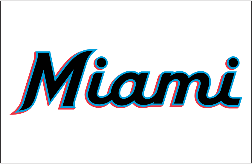 Miami Marlins Logo Jersey Logo (2019-Pres) - Miami in black, blue, and real script worn on front of Miami Marlins home jersey beginning in 2019 SportsLogos.Net