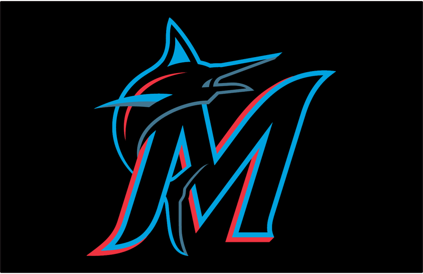 Miami Marlins Logo Cap Logo (2019-Pres) - Black, blue, and red M with a marlin leaping over the side on a black cap SportsLogos.Net