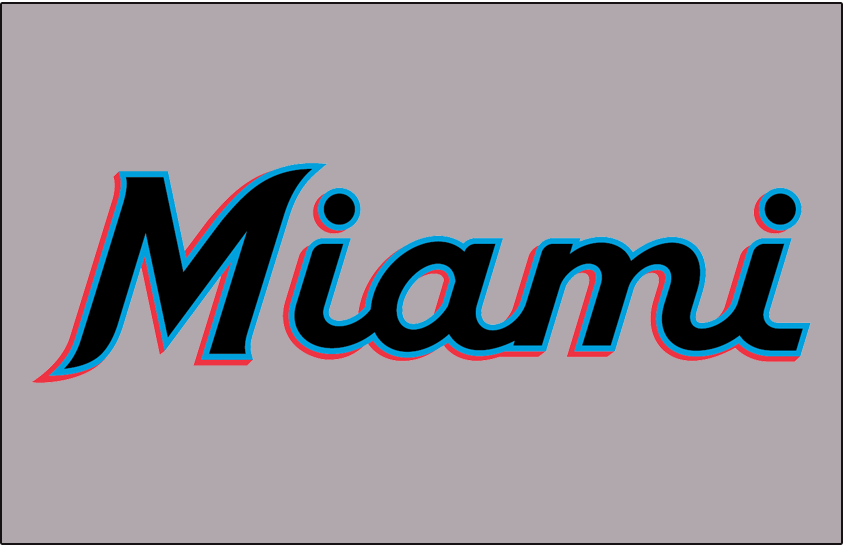 Miami Marlins Logo Jersey Logo (2019-Pres) - Miami in black, blue, and red script on grey worn on front of Miami Marlins road jersey beginning in 2019 SportsLogos.Net