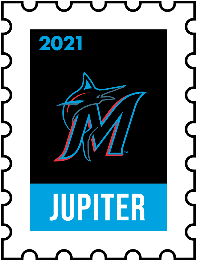Miami Marlins Logo Event Logo (2021) - The Miami Marlins 2021 Spring Training logo, the design follows a league-wide style using a postage stamp in team colours with the team logo in the middle. SportsLogos.Net