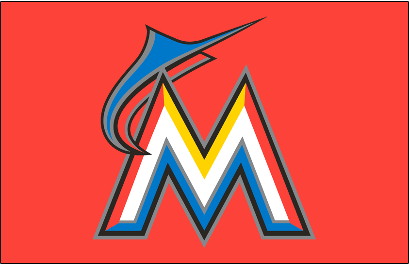 Miami Marlins Logo Cap Logo (2012-2014) - A blue and orange marlin leaping over a white, orange, yellow and blue M with black and silver outlines on orange SportsLogos.Net