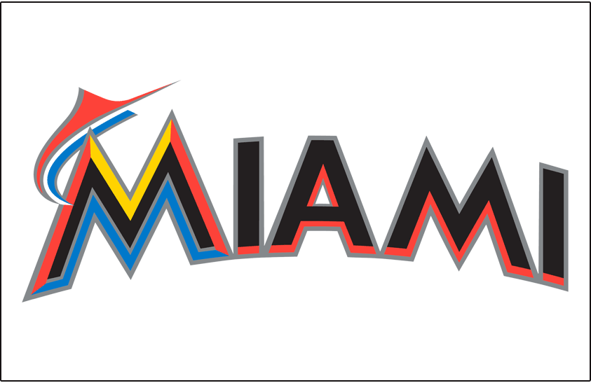 Miami Marlins Logo Jersey Logo (2012-2018) - Miami arched in black and orange with black and silver outlines, and an orange and blue marlin jumping from the M on white, worn on Miami Marlins home jersey starting in 2012 SportsLogos.Net