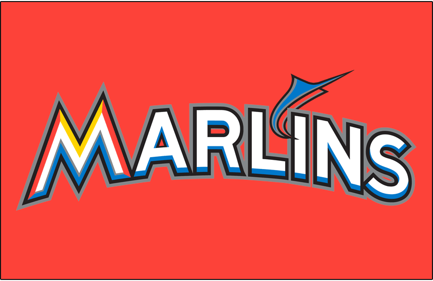 Miami Marlins Logo Jersey Logo (2012-2018) - Marlins arched in white and blue with black and silver outlines, and an orange and blue marlin jumping from the I on orange, worn on Miami Marlins alternate orange jersey starting in 2012 SportsLogos.Net
